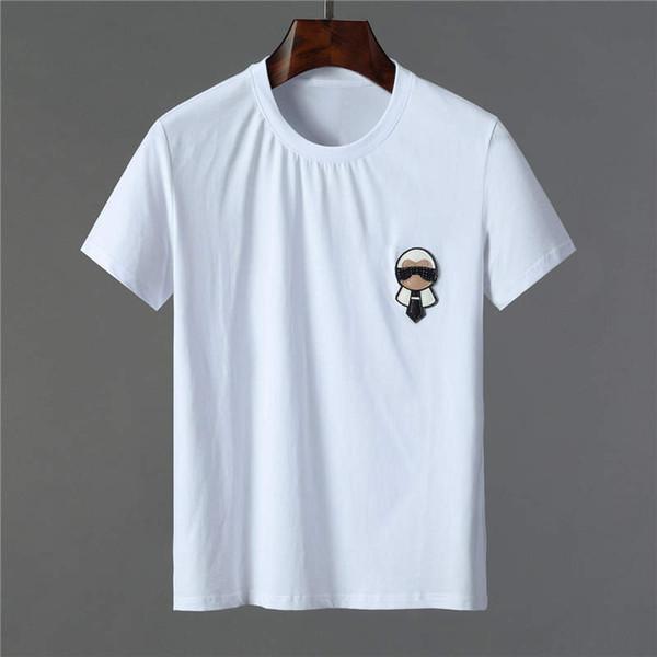 Мужские футболки Лето Футболки Свободные Узоры Печати против морщин Мода Стиль Сплошной Цвет Футболка Марка Размер M-3XL