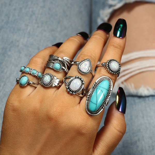 Stackable Silver and Turquoise Rings Boho Style Turquoise Rings Elephant Turquoise Rings Feathers Turquoise Animal Stackable Rings
