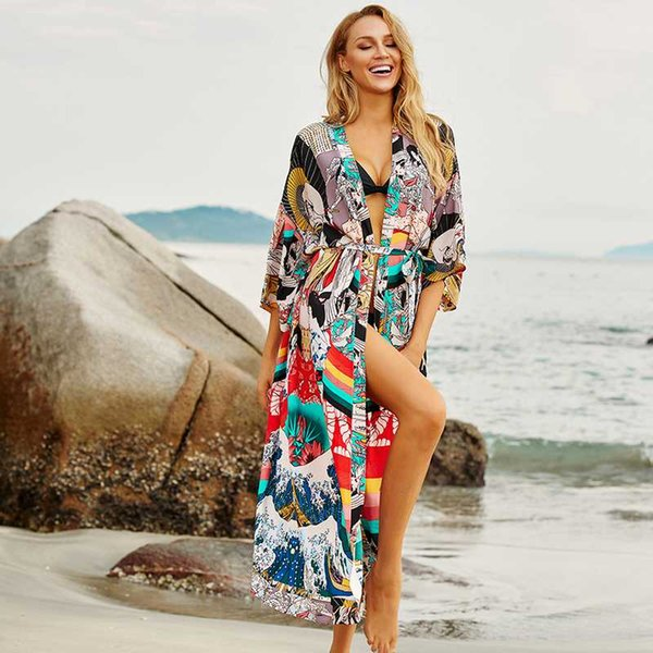 Bikini Cover Up Dress Maillot de Bain Par/éo Femme Grande Taille Bandouli/ère en Dentelle Robe d/ét/é Courte Col en V Dos Nu Robe de Plage