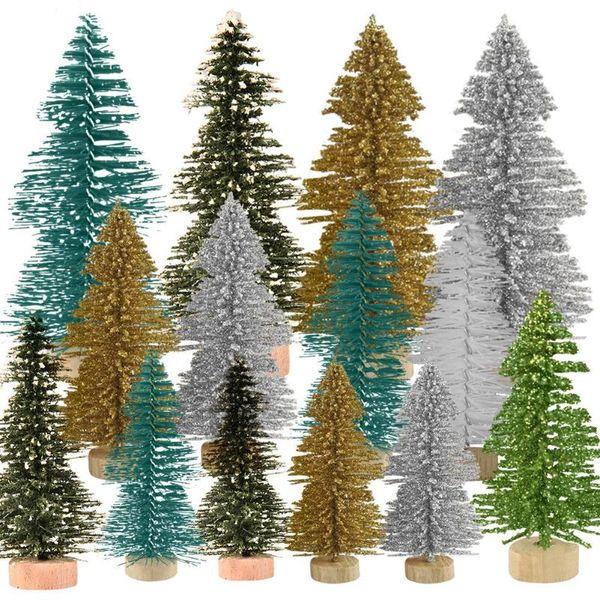 5x Mini Escova De Garrafa Sisal Árvore De Natal Papai Noel Neve Frost Village House as decorações