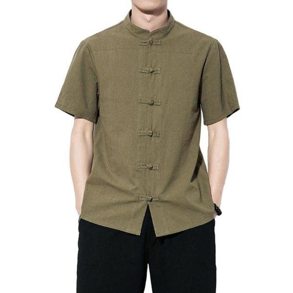 Nouveau Traditionnel Hommes Chinois Top Grenouille Bouton Casual Coton Vintage Kung Fu Chemise