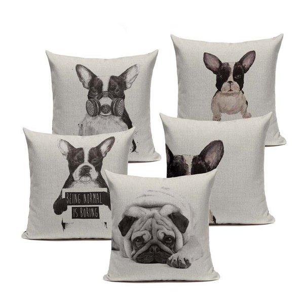 18/'/' Nordic style Pug Cushion Cover 45 x 45 Hug Pug