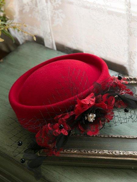 Lawliet Chapeau de cocktail noir pour dame avec fleurs et perles
