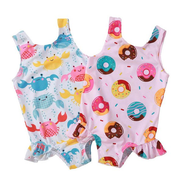 Newborn Baby Girls Rainbow Swimsuit Sleeveless Ruffle Swimwear One Piece Bikini Bathing Suit 0-3Y
