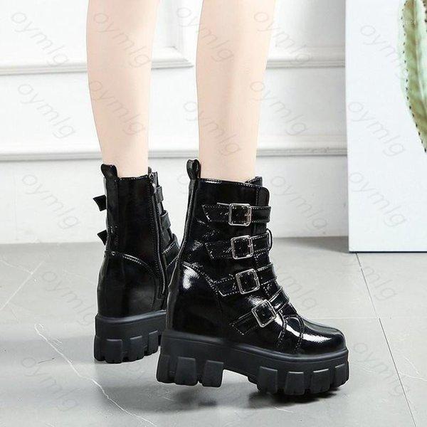 Rétro Femme Punk Chunky Talons Hauts Plateforme Lacets Fermeture Éclair Latérale Moteur Cheville Bottes Chaussures