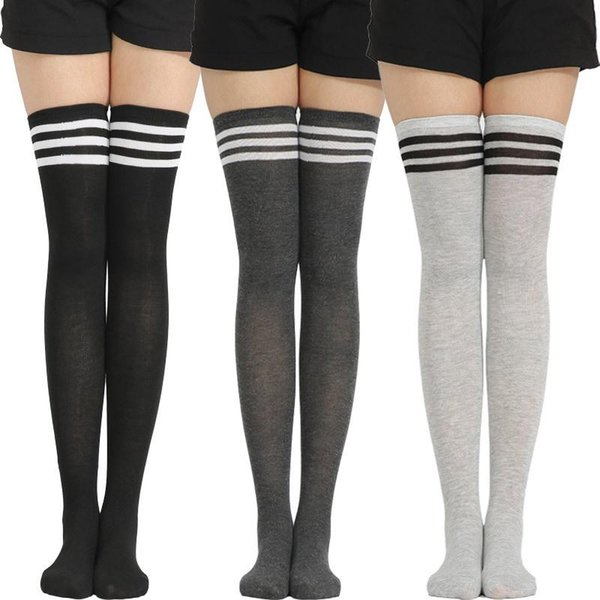 Girl Stretchy Meias Over The Knee High Socks Stockings Tights With Bows Thigh DR