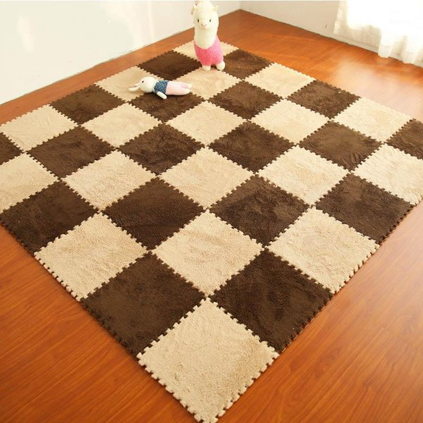 9Pcs Housse de protection revêtement de sol Tapis-carreaux de Plancher en Bois Puzzle Tapis