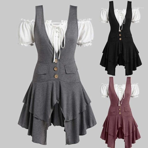 Femme Plus Taille Manches Longues Mini Robe Femmes Poches Casual Baggy tunictops