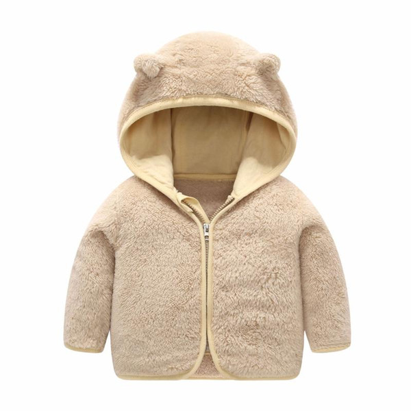 Kids Boys Girls Bear Ear Design Hooded Jackets Long Sleeve Pure Color Cute Winter Coats Block Zipper Toddlers Tops