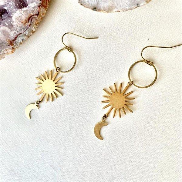 Celestial Earrings Moon Fairy Earrings Crescent Moon Fairies Dangling Earrings Moon Earrings Handmade Jewelry Faeries