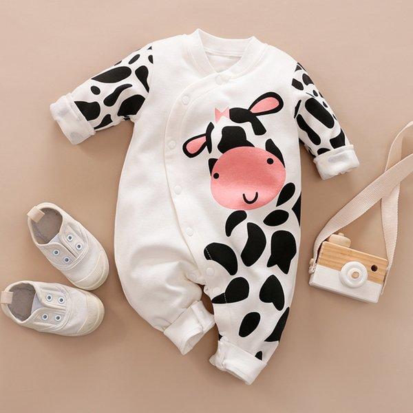 Girl Cow Applique Farm Romper Baby Girl Onesie Cow Romper Pink Cow Applique