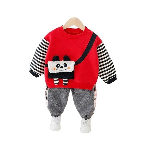 Plaid Striped Pants Outfits Set Baby Boys Girls Clothes Sweatshirt Bear Printed Long Sleeve Hoodie Tops