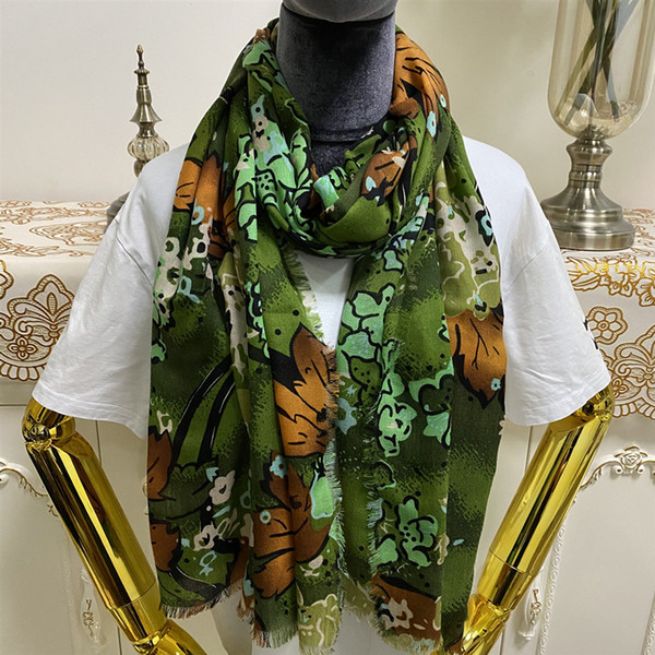 Ladies Winter Floral Embroidered Scarf Shawl Soft Warm Large Wrap Stole S4 GREEN