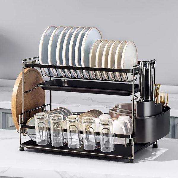 Posate Organizzatore Sink Caddy Drain Cremagliera Cucchiaio Di Plastica Della Forcella Bacchette Storage Box Doppio Strato Per La Cucina