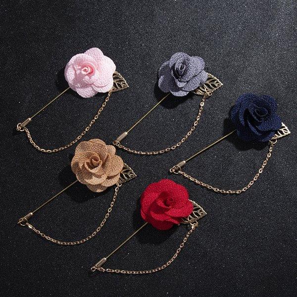 Hommes Toile Art Fleur Rose Mariage Broches élégante poitrine pin badge Tassel Chaîne
