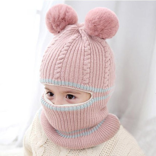 WINTER SET FOR Girls Knitted Wool Pink Hat Long Scarf 2 Pcs Set Girls Accessories Sheeps Decor Beanie Hat Christmas Gift Idea For Girls