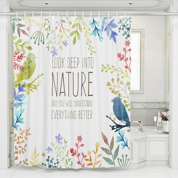 Cortina de ducha con flores para baño