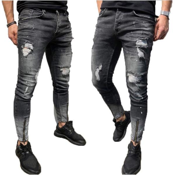 Herren Skinny Distressed Löcher Jeans Denim Biker Röhrenjeans Bleistift Hosen DE