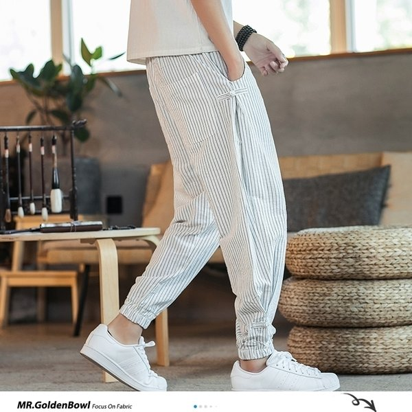 Distribuidores De Descuento Pantalon Rayado Blanco Negro Para Hombre 2021 En Venta En Dhgate Com