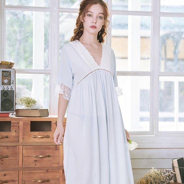 Les femmes Chinoises Rétro Coton Chemise de Nuit Sommeil Robe à manches longues Nightwear pyjama