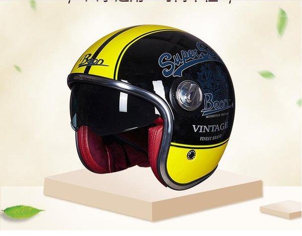 GHLa Motocicleta Casco Cuatro Estaciones Hombres Mujeres Carro electrico Sombrero Duro Medio Casco Desmontable Babero Lente Grande
