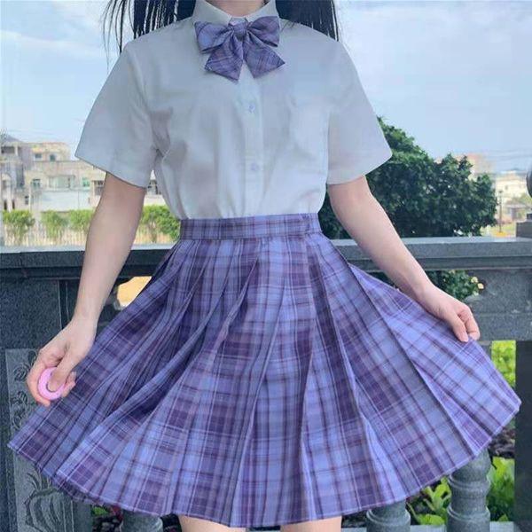 Yingshu Gonne Corte a Vita Alta Gonne Preppy Mini da Donna Coreana Giapponese Gonna Casual da Tennis a Pieghe Scozzese Kawaii