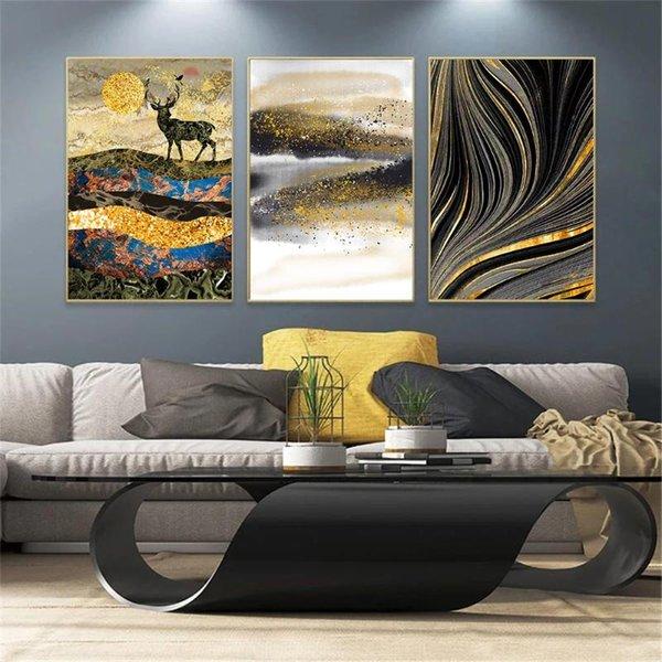 jjshily Moderne skandinavische Wandkunst grau wei/ß Baum Leinwand Malerei Hirsch Tier Poster und Drucke Bilder f/ür Wohnzimmer Dekoration