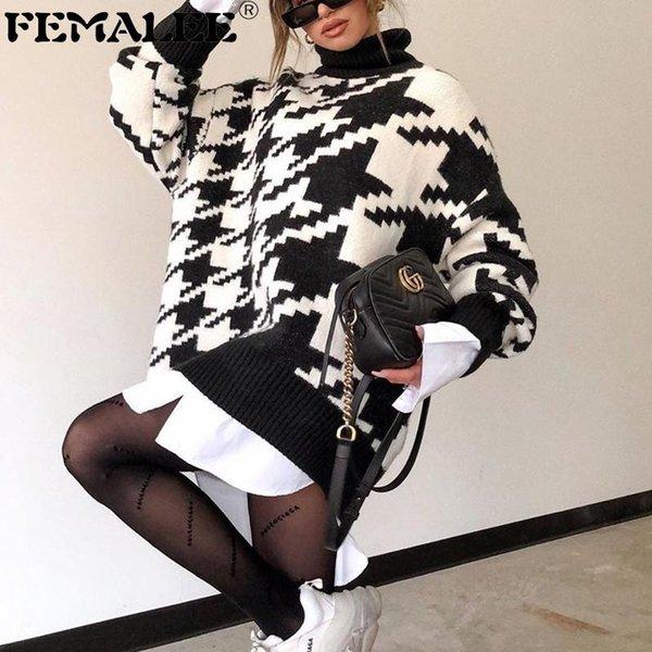 Jumper Autumn Winter Knitwear Turtle Neck Sweater Dress Long Sleeve Womens Loose