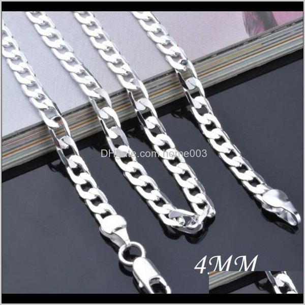 NEW Men/'s 4mm Tie Chain Tack Clip Silver Double Figaro with Gift Box
