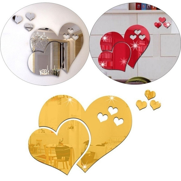 10 StüCke 3D Liebe Herz Acryl Spiegel Wandaufkleber Removable Home Decor O2B1 1X