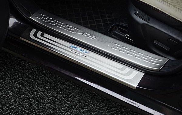 Auto Threshold Guard Sticker Trim Decorative Styling Accessories JCJFW Carbon Fiber Leather Car Rear Door Bumper Sill Protector Kick Scuff Pedal Plates for Mazda CX-5 CX5 All Models
