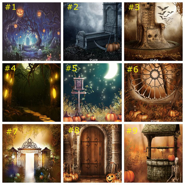 Halloween Night Spider Forest Castle Bat Pumpkin Photography Backgrounds Customized Photographic Backdrops for Baby Children Photo Backdrop Party Prom Decoration Photographic Background Banner