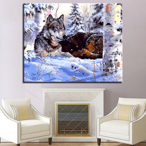 WOLF ANIMALI Fai Da Te Pittura da numeri Modern Wall Art dipinti a mano dipinto ad olio