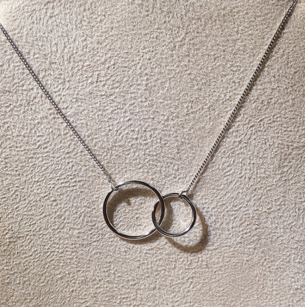 two eternity circle charms sterling silver chain Lariat necklace unique gift for women
