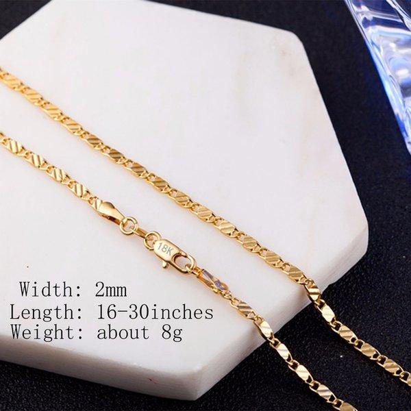 Silberkette Gliederkette Halskette 925 Sterlingsilber 18K kette vergoldet 2mm