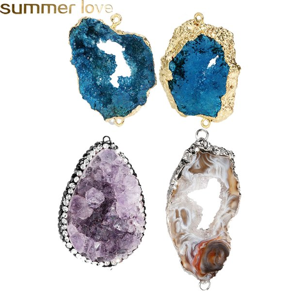 5pcs Natural Clear Quartz Druzy Pendants with Double Loops,Charm Gemstone pendant For Making Jewelry findings
