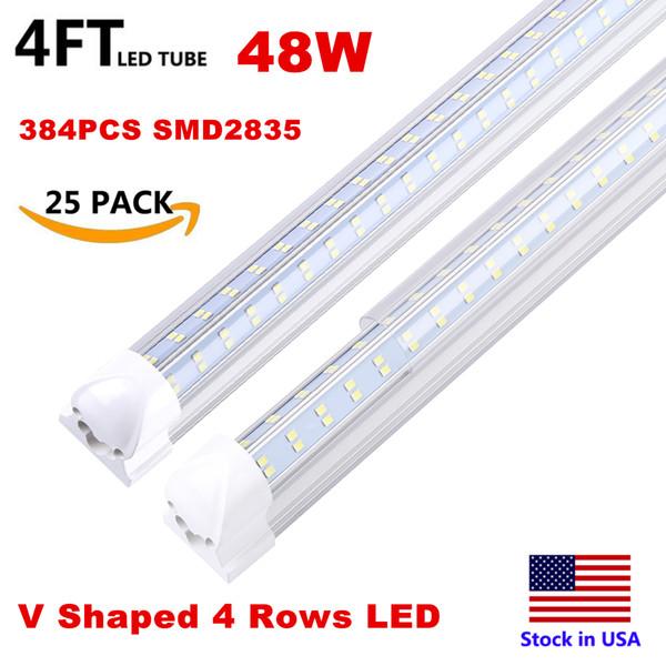 6-10//Pack 2FT 3FT 4FT 5FT 6FT 8FT T8 LED Tube Flat Double Row G13 LED Shop Light