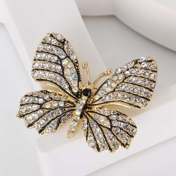 Vintage Butterfly Brooch Screw Earring Set RHINESTONES
