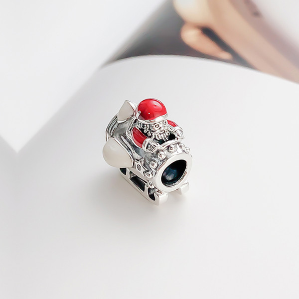 Clear CZ Dangle Pendant Charm Fit European DIY Bracelets Fine Jewelry 925 Sterling Silver Christmas ornament with translucent Red Enamel