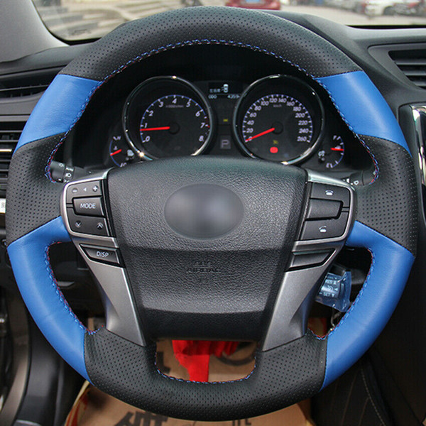 Color Name : 42 Black Thread 50 centimetri Coprivolante Pelle Car Steering Wheel copertina Braid Steering Ago E Filetto Paraurti anteriore Accessori Interni 42 centimetri