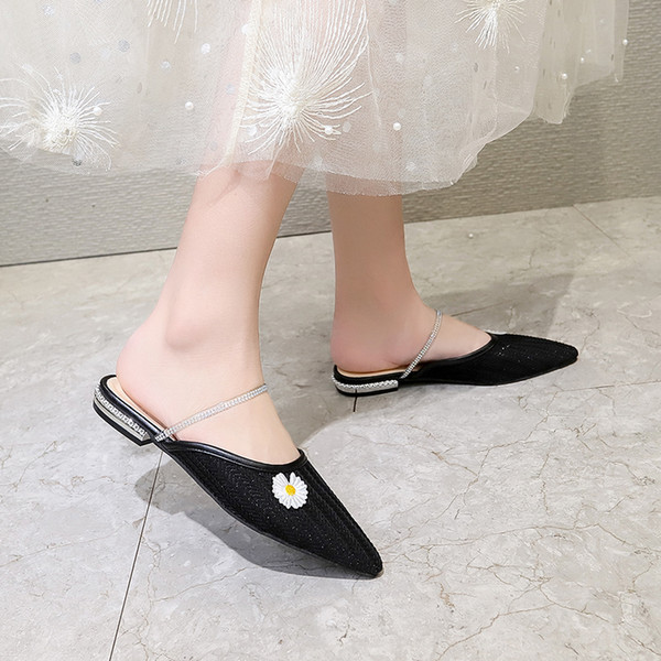 Women/'s Slip On Pointy Toe Genuine Leather Crystal Heel Slipper Mules Chic Shoes