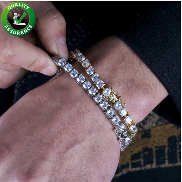 925 Sterling Silver Gold Plated Triple Row C Z Wide Tennis Bracelet 6 34
