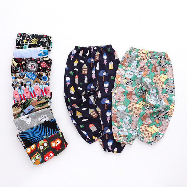Kids Toddler Girls Summer Clothing Cotton Linen Trousers Bow Harem Anti-Mosquito Trousers Long Bloomers Hiphop Trousers