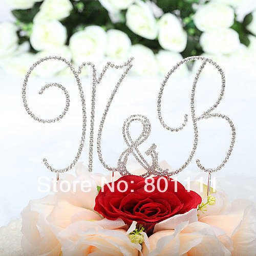 Wholesale Monogram Letters Wedding Cake Toppers - Free Shipping Wedding Favor Fabulous Shining Rhinestone Monogram Cake Topper Mix & Match, Cake Jewelry, Letter & Number