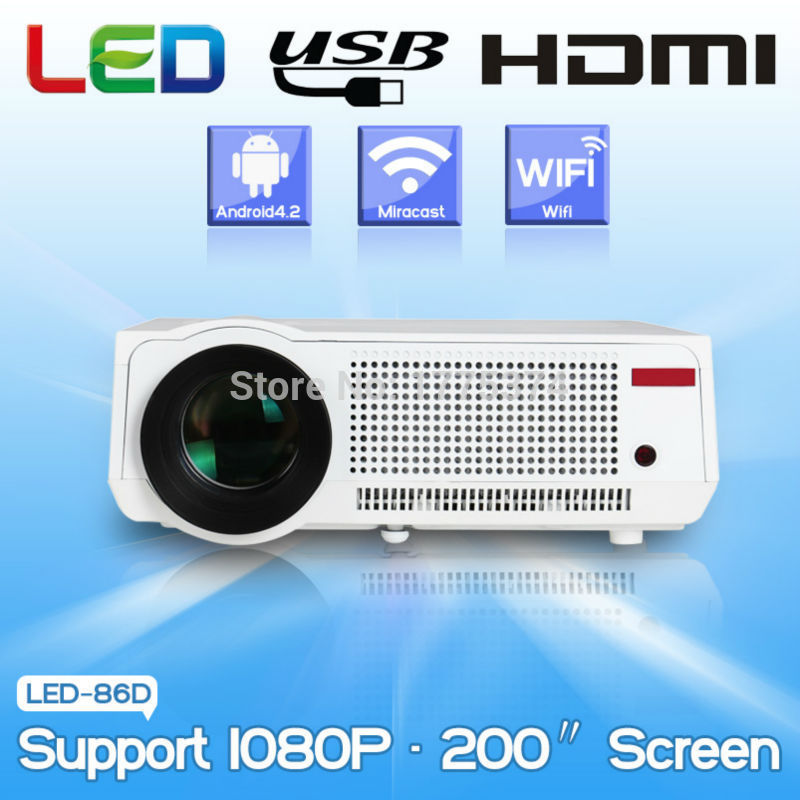 Wholesale Led Projecteur Lcd - Free gift for 100'' screen Full HD Smart Android Projector Projecteur LED LCD 3D Wifi Projektor Home Theater Beamer Proyector