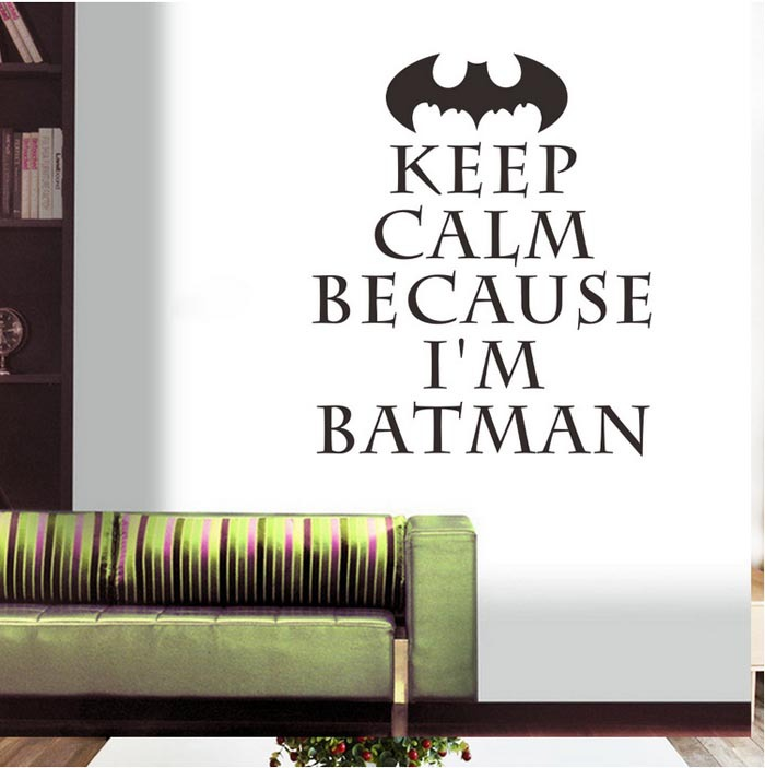 Wholesale Country Quotes - Keep Calm Batman English Quotes Vinyl Wall Decal Sticker Boys Bedroom Wall Decor Wall Decoration For Kid's Room Batman Stickers