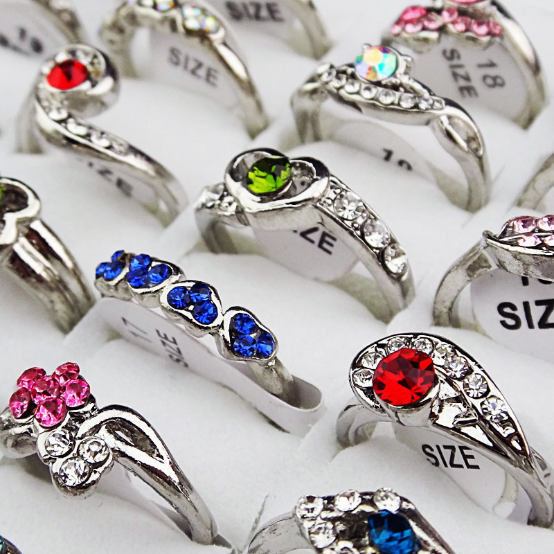 Factory Sale Wholesale 10PCS 2017 New Arrival Mix Style CZ Rhinestones Fashion Women Girls Silver P Rings Trendy Jewelry A-095