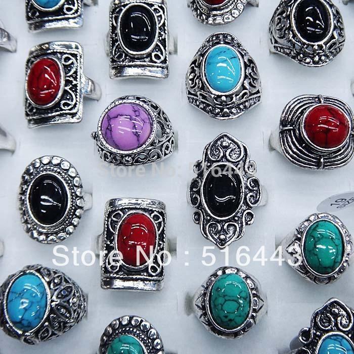 Vendita calda 10 pz pietre naturali turchese argento antico placcato vintage donna uomo anelli all'ingrosso lotti di gioielli a-100