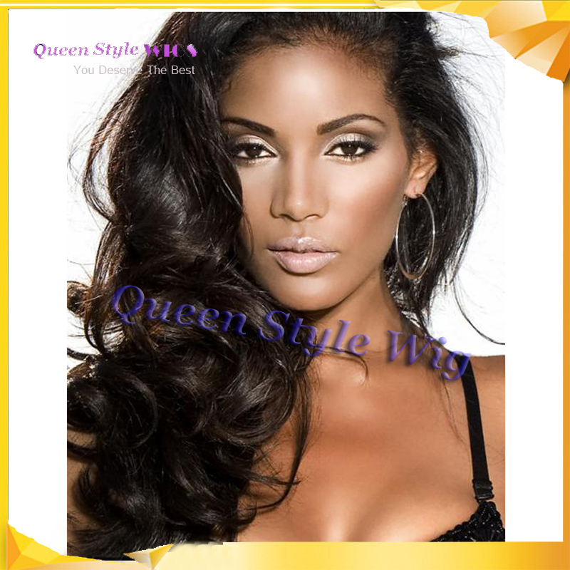 Wholesale High Quality Celebrity Wigs - 18-28 inches New high quality Celebrity hairstyle Black Body wave lace front full wig Synthetic Hair lace front wig body wave