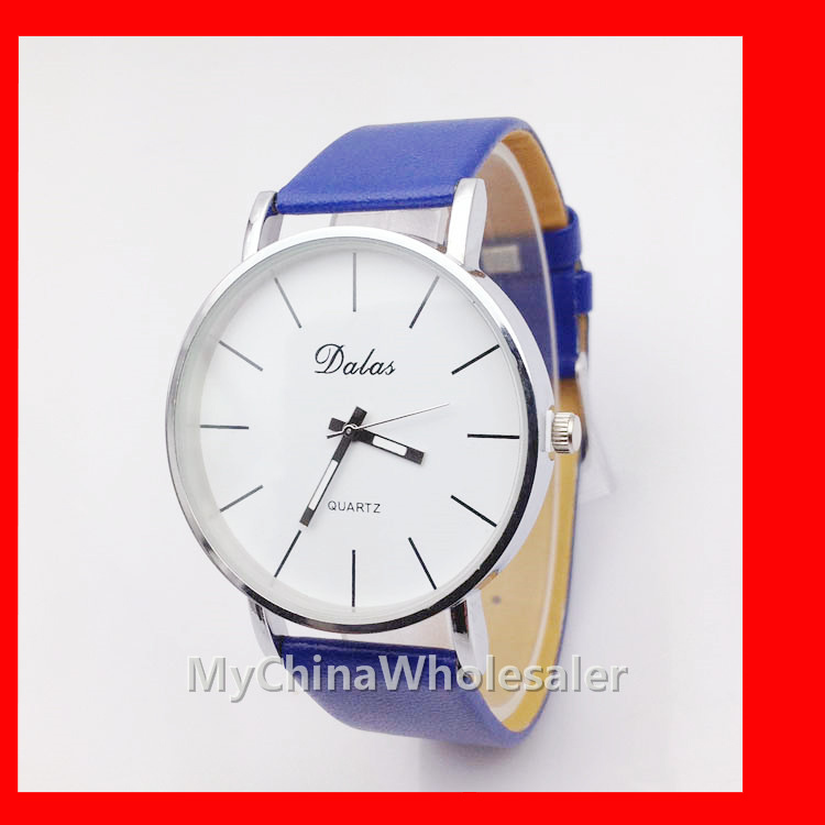 Wholesale Dalas Watches - Hot New Dalas Ultra Thin Watches Automatic Movement PU Leather Band Watch Round Dial Simple Scale Student Wrist Watches Wholesale Watches